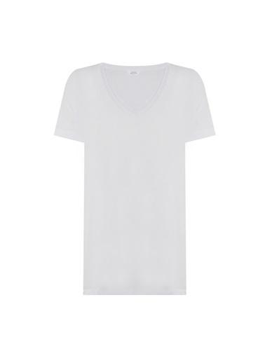 Deux Beautés Daphne V Yaka T-Shirt  Beyaz